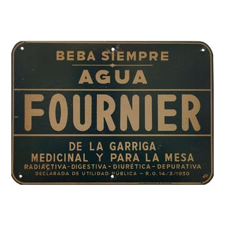 Spanish Art Deco Advertising Tin, Agua Fournier For Sale