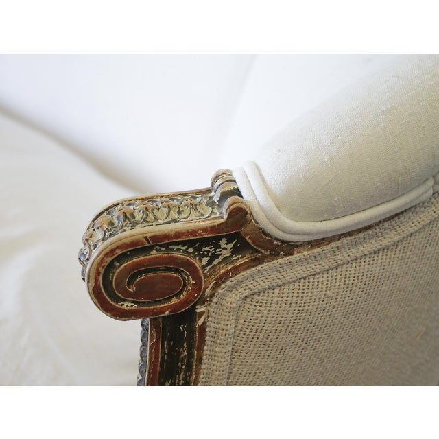 19th Century Louis XVI Style French Settee Upholstered in Antique Grain Sack For Sale - Image 9 of 13