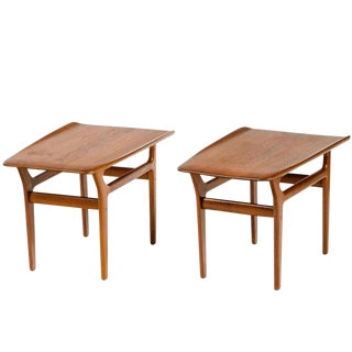 Pair of Danish Modern Teak Wood End Tables, 1960's For Sale