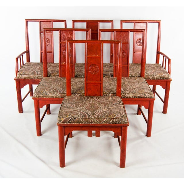 Early 20th Century Vintage Thomasville Chinese Style Red Lacquer and Upholstered Dining Chairs - Set of 6 For Sale - Image 13 of 13