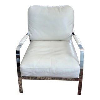 Modern Campania Philip Leather & Chrome Club Chair