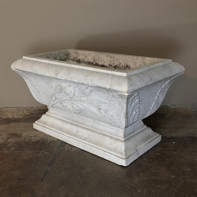 White 19th Century Louis XVI Carved Carrara Marble Neoclassical Planter For Sale - Image 8 of 11