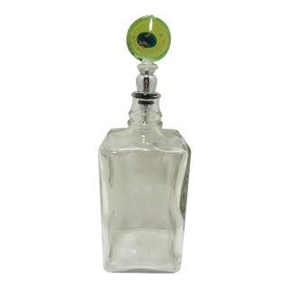 Vintage Etched Glass Bourbon Decanter W Art Glass Stopper