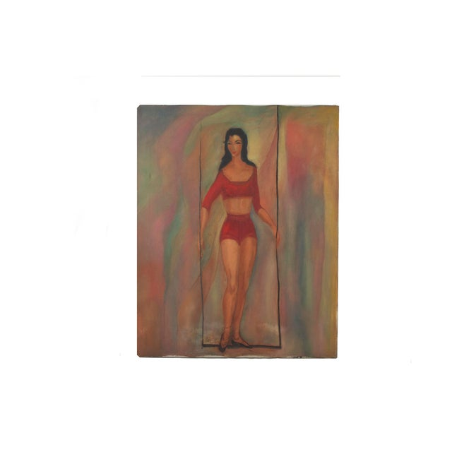 Mid Century Modern Portrait of a Woman For Sale - Image 4 of 4