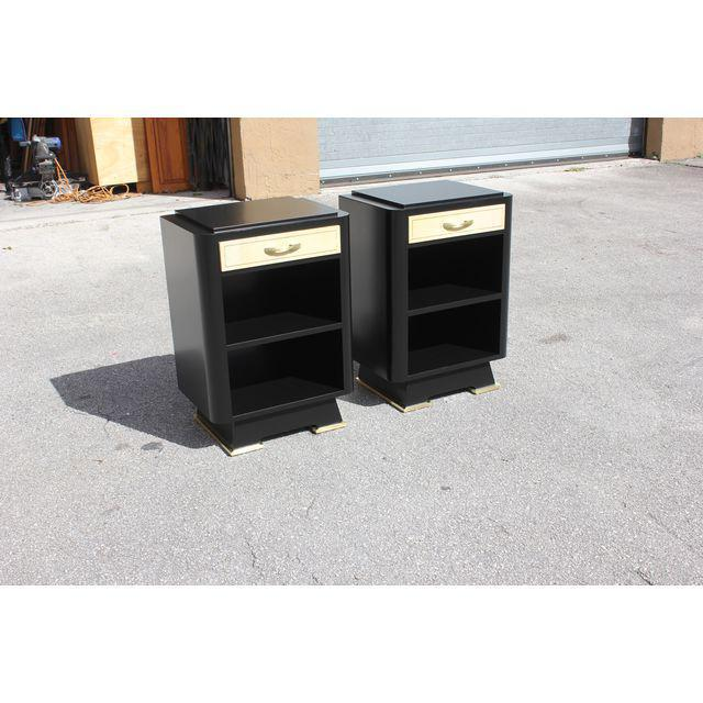 Classic Pair Of French Art Deco Parchment/ Ebonized Side Table / Nightstands, Circa 1940's - Image 5 of 11