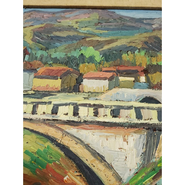 """Impressionist Mid 20th Century """"The Bridge Before the Mountain"""" Painting For Sale - Image 3 of 13"""