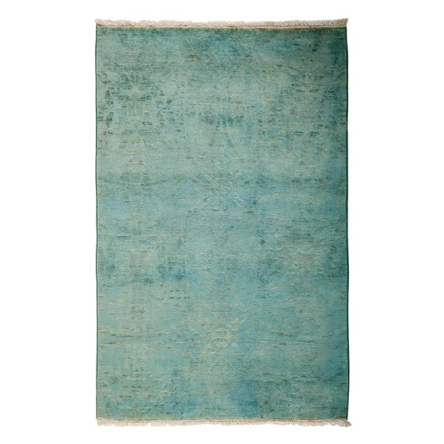 """Overdyed Hand Knotted Area Rug - 3'1"""" X 4'10"""" - Image 1 of 3"""