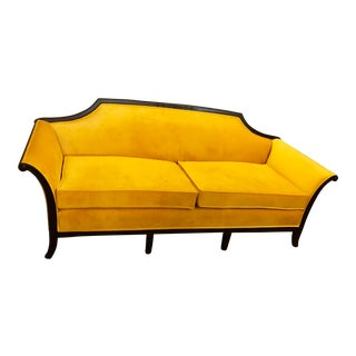 20th CenturyNeoclassical Canary Yellow Velvet Sofa