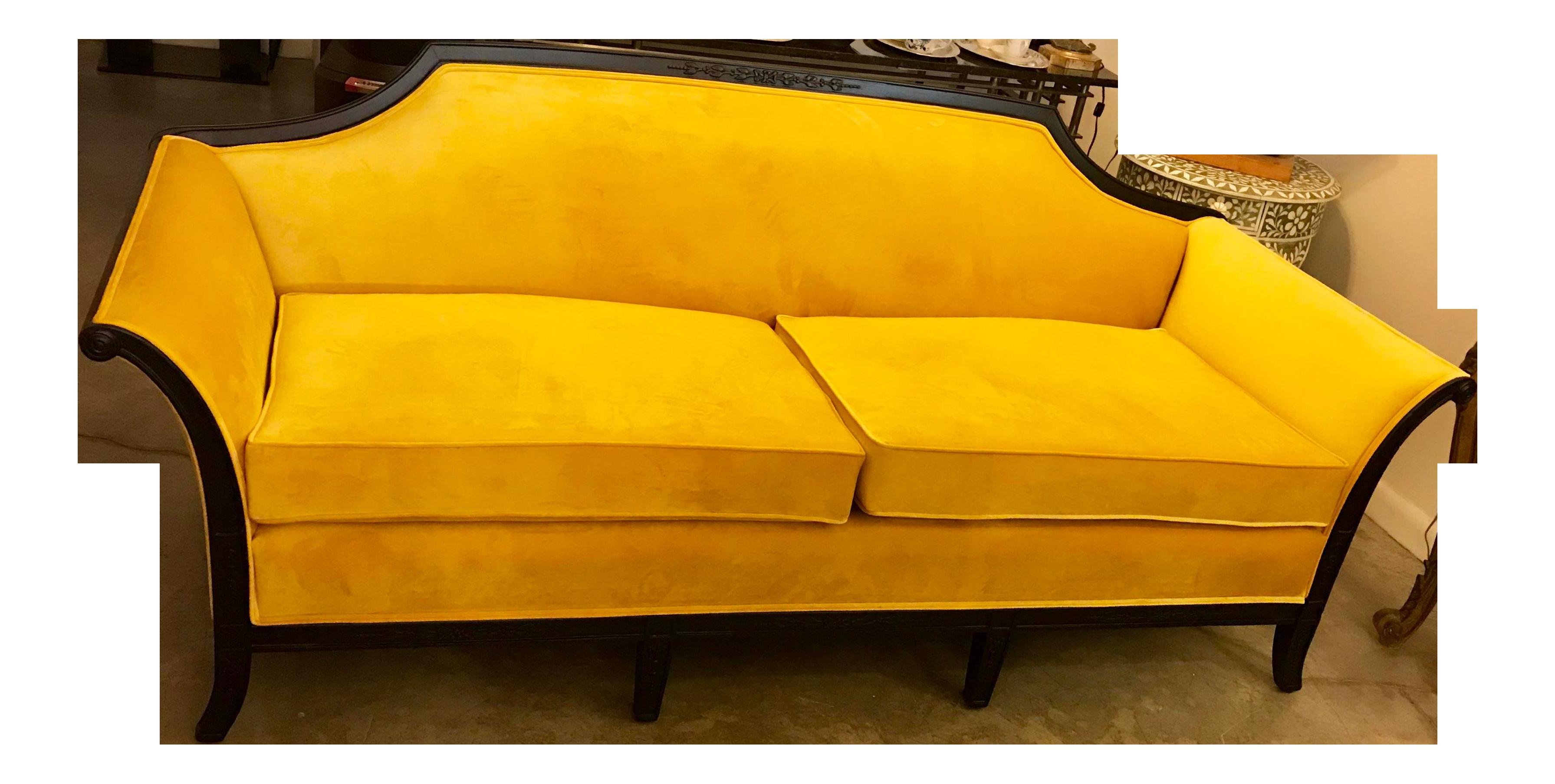 20th CenturyNeoclassical Canary Yellow Velvet Sofa