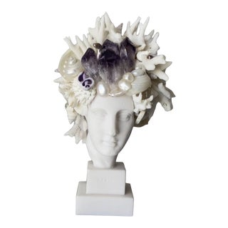 Contemporary Miniature Shell Encrusted Hygeia Head For Sale