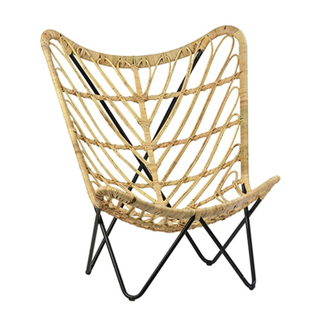 Contemporary Rattan & Iron Butterfly Chair For Sale - Image 3 of 3