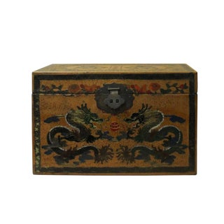 Chinese Distressed Yellow Dragons Graphic Rectangular Shape Box Cs4668E For Sale
