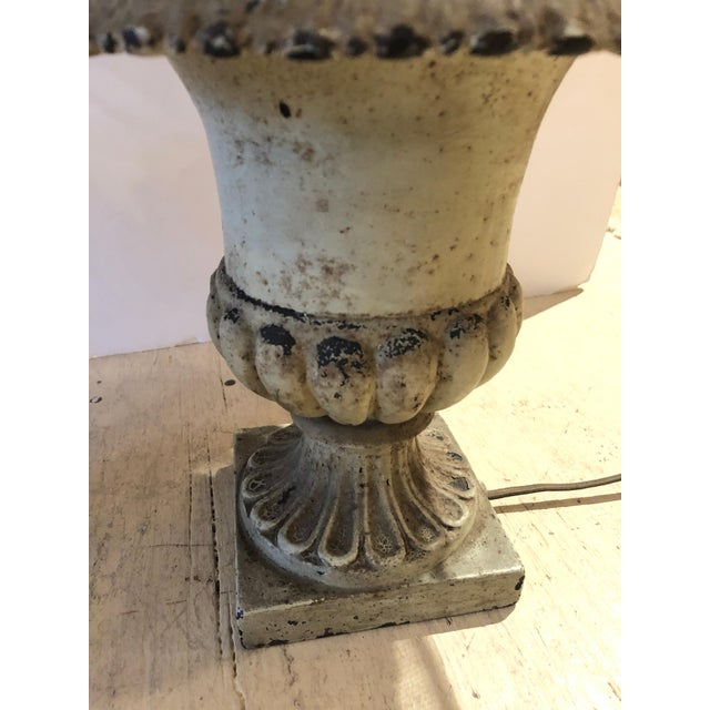 Rustic Iron Garden Urn Table Lamps - a Pair For Sale - Image 3 of 13