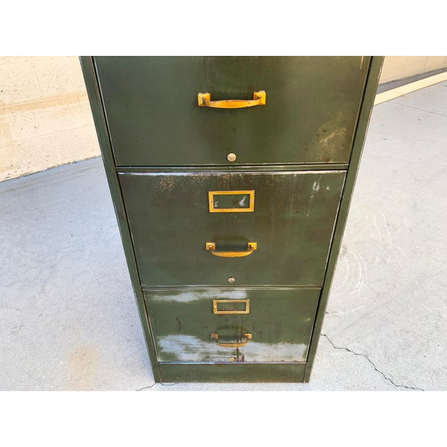 1940s Large File Cabinet With Brass Hardware by Steel Furniture Mfg. Co. For Sale In Los Angeles - Image 6 of 8