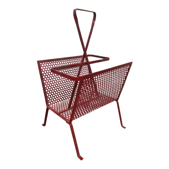 1950's Mathieu Mategot Attributed Red Metal Magazine Holder For Sale