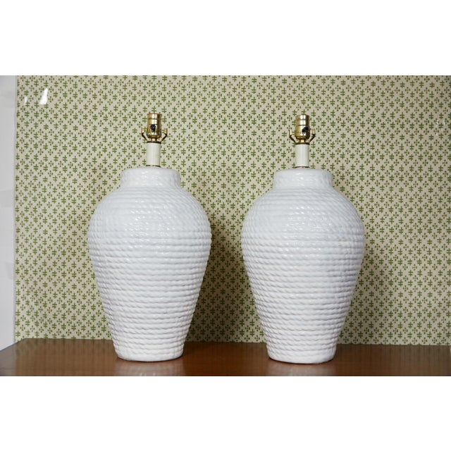 Ceramic Hollywood Regency Pair of White Rope Urn Lamps For Sale - Image 7 of 7