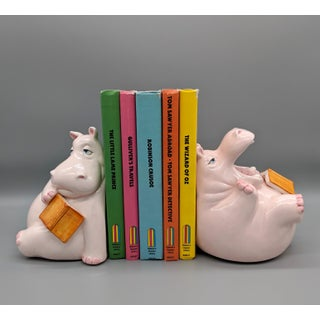 1980's Vintage Fitz & Floyd Hippo Bookends - a Pair Preview