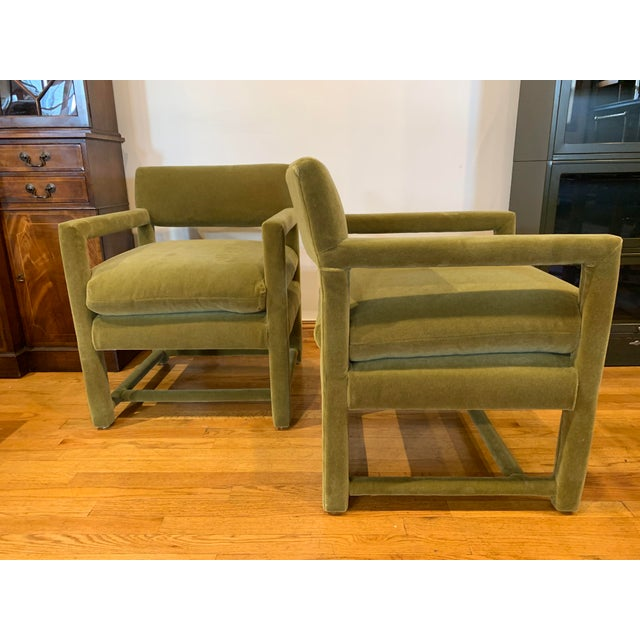 Pair of Milo Baughman style armchairs. Freshly upholstered in gorgeous green mohair.