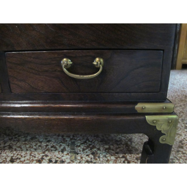 Mid 20th Century Japanese Dark Wood Grain Hibachi Coffee Table With Drawers For Sale - Image 5 of 11