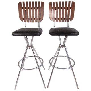 Mid-Century Modern Slat Back Swivel Bar Stools - A Pair