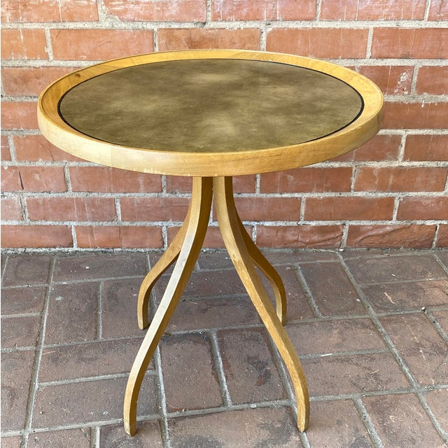 1960s Kipp Stewart for Drexel Round Leathertop End Table For Sale - Image 12 of 12