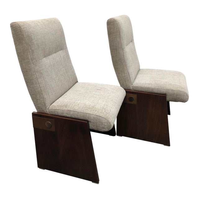Mid-Century Modern Lane Brutalist Side Chairs- A Pair For Sale