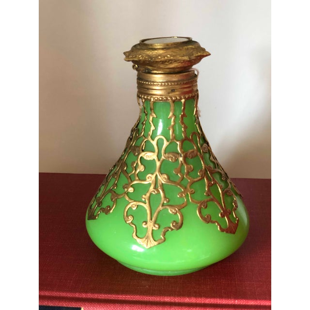 Antique Palais Royal French Perfume Bottle Green Opaline With Cased Gold With Castle Photo Top 19th Century