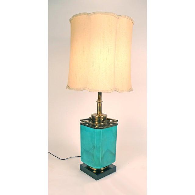Stiffel Jade Blue Ceramic Stiffel Lamps For Sale - Image 4 of 7