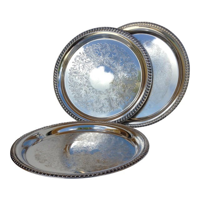Large Silver Plate Round Platter Trays -Set of 3 - Image 1 of 11