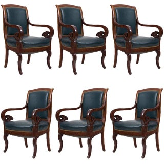 Antique Mahogany & Leather French Arm Chairs - Set of 6 For Sale