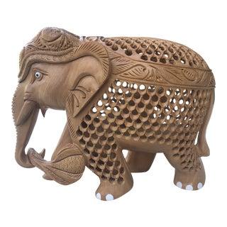 1970s Vintage Carved Wooden Elephant Sculpture For Sale