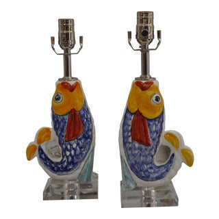 Colorful Fish Table Lamp - A Pair