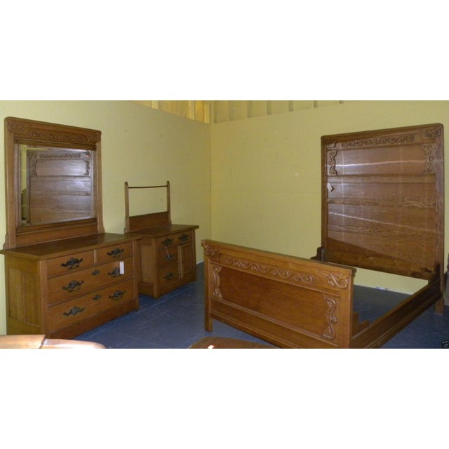 Antique Victorian Oak High Back Bed For Sale - Image 10 of 10