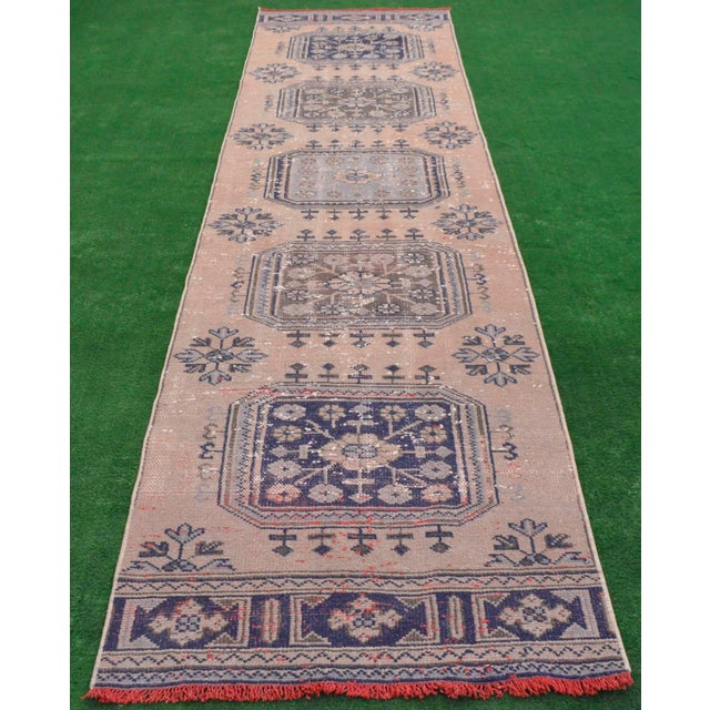"""Islamic Distressed - Faded Oushak Rug Runner Stunning Kitchen Decor - 2'11"""" x 11'7"""" For Sale - Image 3 of 10"""