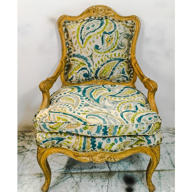 Blue Pair of French Style Chairs For Sale - Image 8 of 9
