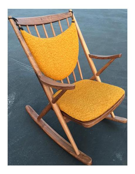 Danish Modern Yellow Cushioned Sculptural Rocking Chair