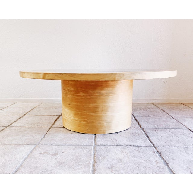 Cylindrical drum style coffee table. Artist print under resin. Raw Beachwood veneer. Side table also available.
