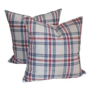 Blue & Red Striped Pillows - A Pair For Sale