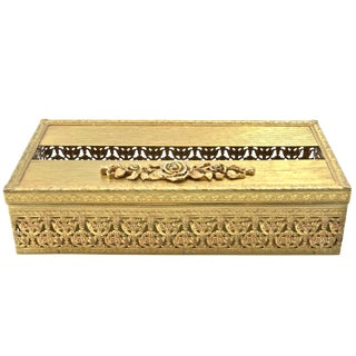 Mid 20th Century Hollywood Regency Gold Filigree Hinged Tissue Holder