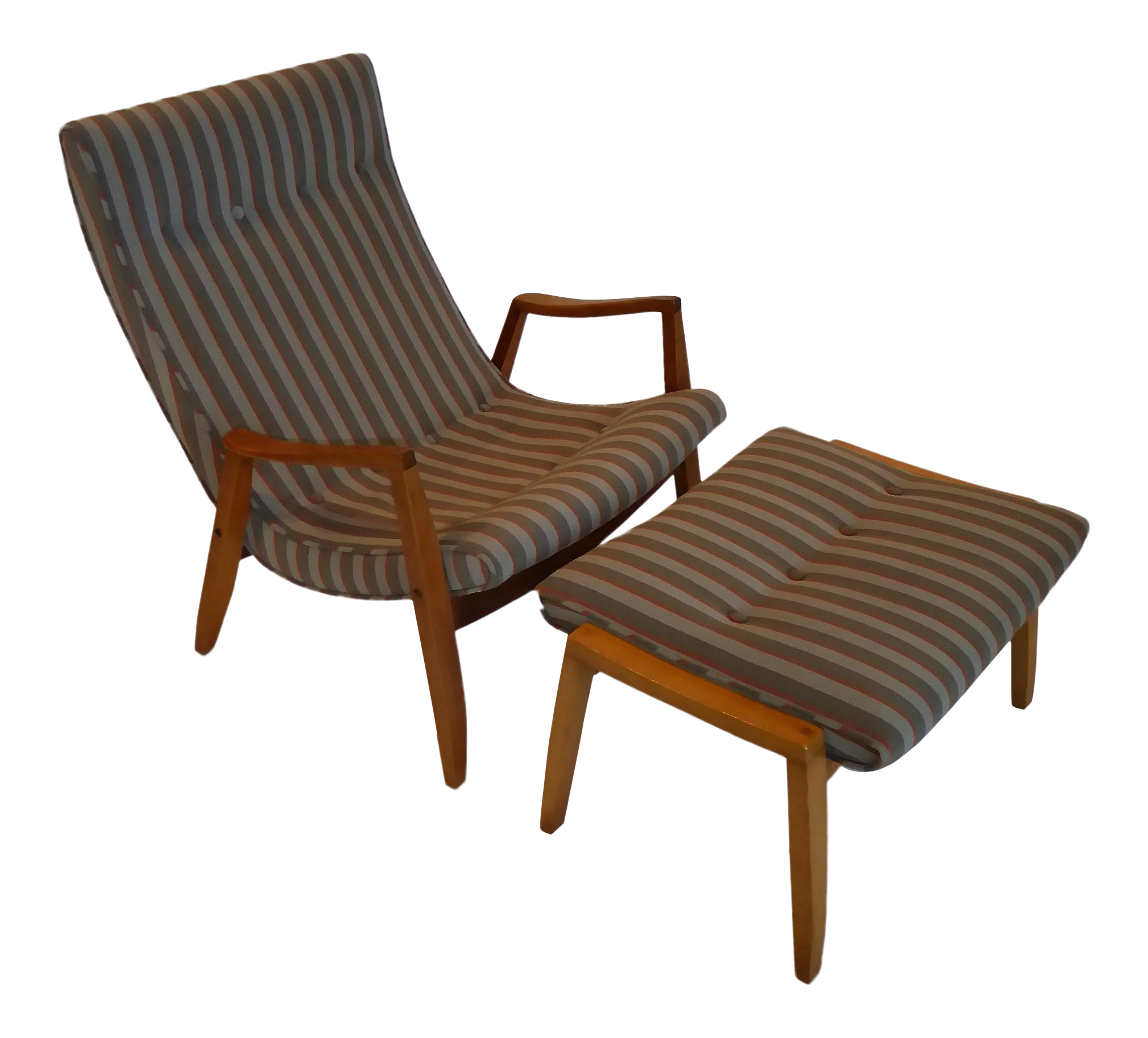 Good 1950s Milo Baughman Scoop Lounge Chair And Ottoman   Image 1 Of 11