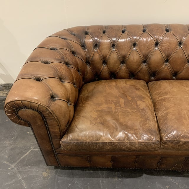 1980s Brown Leather Chesterfield Sofa For Sale - Image 4 of 13