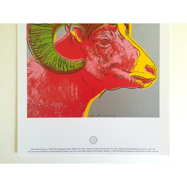 "Contemporary Andy Warhol Estate Rare Vintage 1992 Endangered Species Collector's Lithograph Print "" Bighorn Ram "" 1983 For Sale - Image 3 of 9"