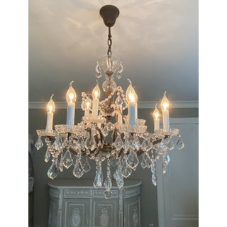 Vintage Rococo Crystal and Bronze 8 Armed Chandelier Dennis & Leen Preview