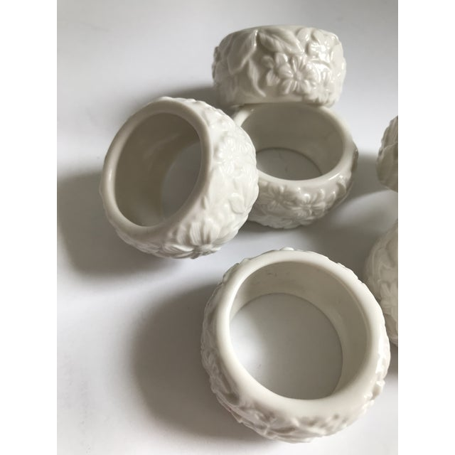 Vintage White Ceramic Napkin Rings - Set of 6 For Sale In Chicago - Image 6 of 7