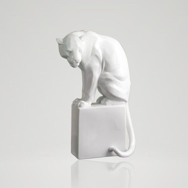 Art Deco White Panther With Gold Base by Franz Barwig For Sale - Image 3 of 4