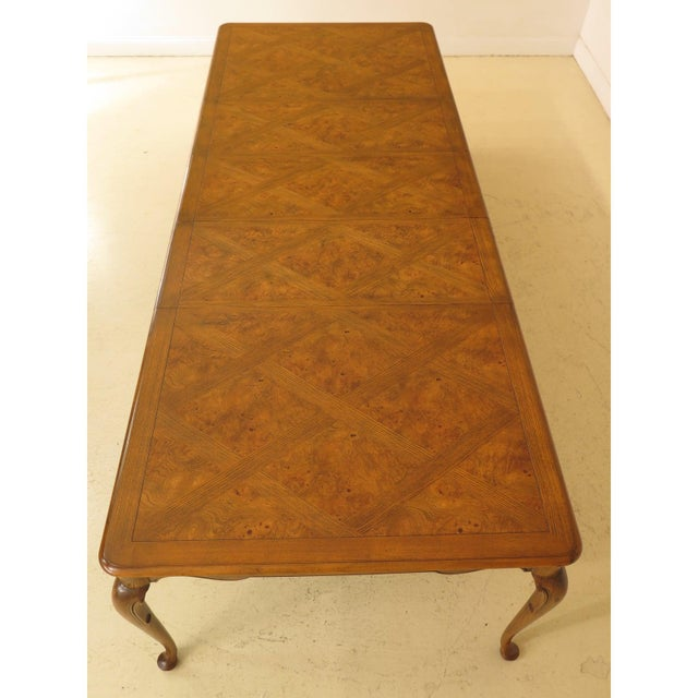 Queen Anne 1970s Queen Anne Baker Walnut & Oak Dining Room Table For Sale - Image 3 of 12