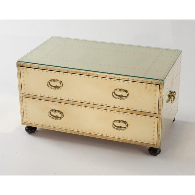 1970s Spanish Sarreid Brass Clad Two-Drawer Chest For Sale - Image 13 of 13