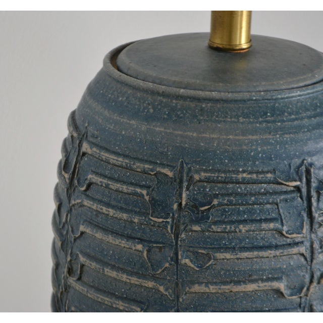 1950s Mid-Century Hand Thrown Ceramic Table Lamp For Sale - Image 10 of 13