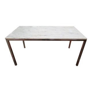 1970s Vintage Mid Century Modern Marble Top Dining Table For Sale