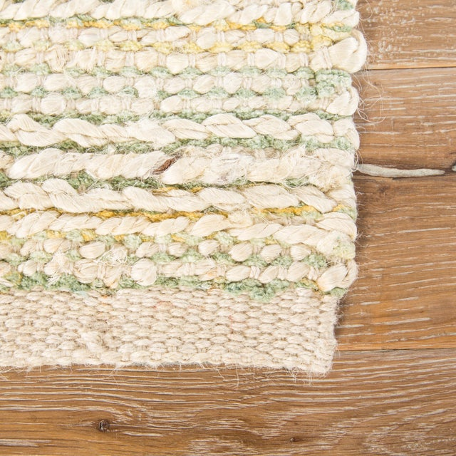 """Contemporary Jaipur Living Canterbury Natural Stripe White & Green Area Rug - 2'6"""" X 4' For Sale - Image 3 of 6"""